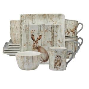 A Woodland Walk 16-Piece Country/Cottage Grey and Sepia Ceramic Dinnerware Set (Service for 4)