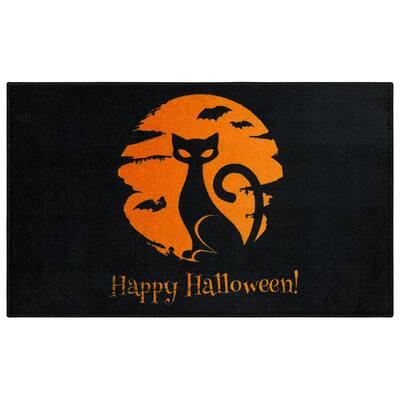 Moon Cat Black 2 ft. 6 in. x 4 ft. 2 in. Halloween Indoor Area Rug