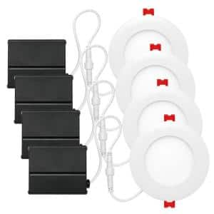 Slimline 4 in. White Finish Integrated LED Recessed Kit (4-Pack)