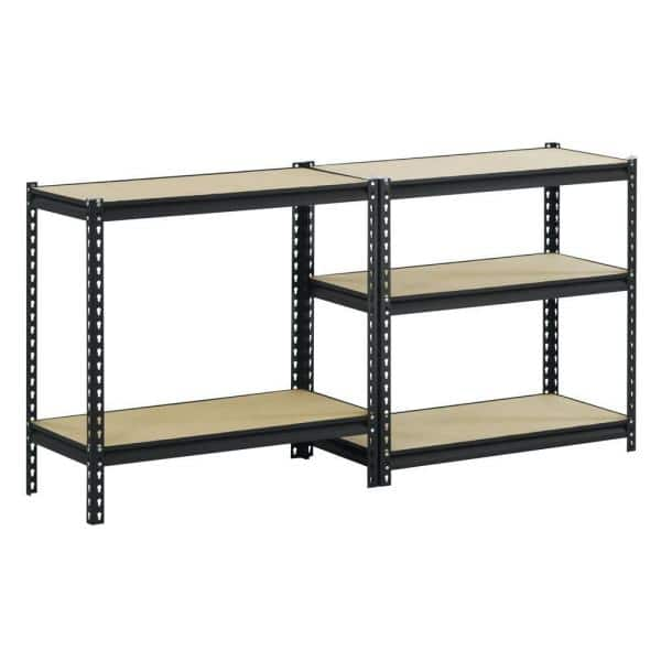 Edsal 72 In H X 36 In W X 18 In D 5 Shelf Steel Commercial Shelving Unit In Black Ur185l Blk The Home Depot