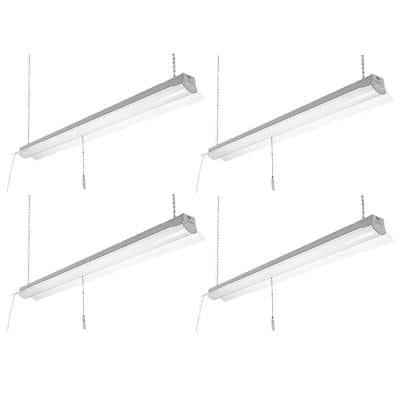 4 ft. 64-Watt Equivalent Integrated LED White Shop Light  Linkable 3200 Lumens 4000K Bright White (4-Pack)