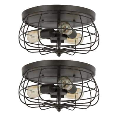 15 in. 3-Light Bronze Metal Industrial Cage Flush Mount (Set of 2)