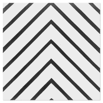 Labyrinth B and W Morning 8 in. x 8 in. Cement Handmade Floor and Wall Tile (Box of 16/ 6.96 sq. ft.)