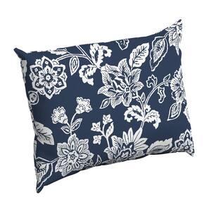 Sapphire Ashland Jacobean Rectangle Outdoor Throw Pillow