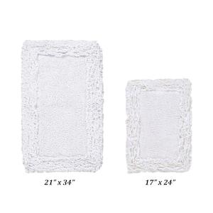 Shaggy Border Collection 2 Piece White 100% Cotton Bath Rug Set - (17'' x 24'' : 21'' x 34'')