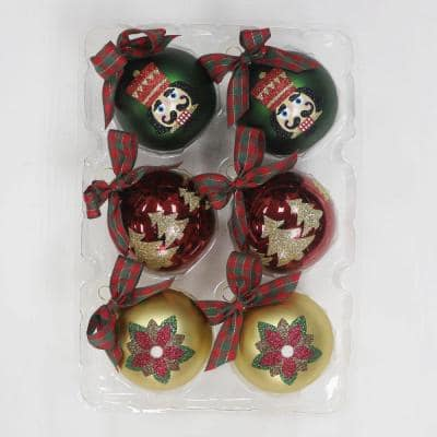 Hah 2.5 Red and Green with Trees Nutcracker and Poinsettia (6-Count)