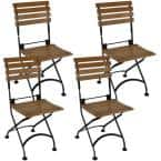 Folding Chestnut Wood Outdoor Dining Chair - Set of 4