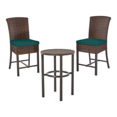 Hampton Bay Harper Creek 3-pc Brown Steel Outdoor Patio Bar Height Dining Set with CushionGuard Malachite Green Cushions
