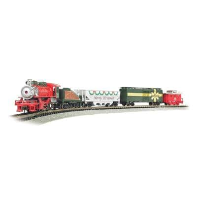 160 in. Trains Merry Christmas Express 1:160 N Scale Electric Model Train Set