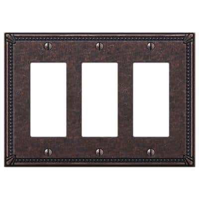 Imperial Bead 3 Gang Rocker Metal Wall Plate - Tumbled Aged Bronze
