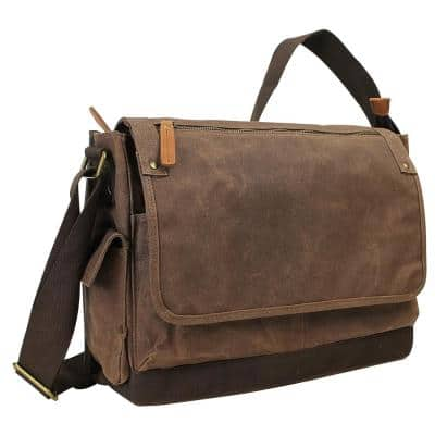 15 in. Vintage Cotton Wax Canvas Laptop Messenger Bag with 15 in. Laptop Compartment. Coffee Brown