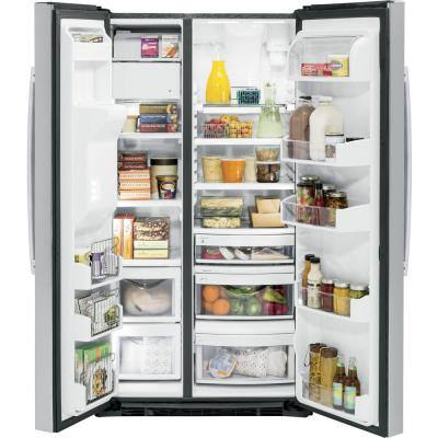 Profile 21.9 cu. ft. Side by Side Refrigerator in Fingerprint Resistant Stainless Steel, Counter Depth