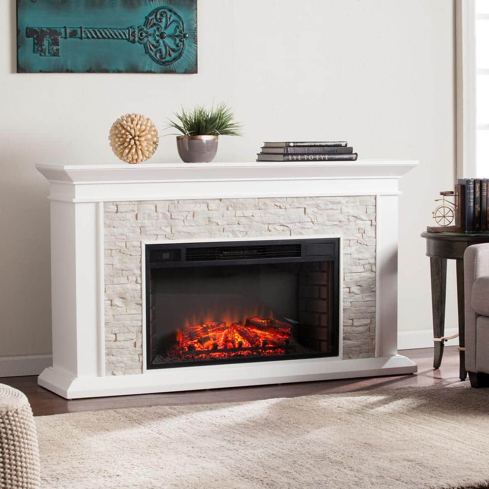 Ithaca 60 25 In W Faux Stacked Stone Electric Fireplace In White Hd90442 The Home Depot