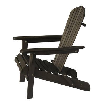 Classic Dark Brown Folding Wood Oceanic Adirondack Chair