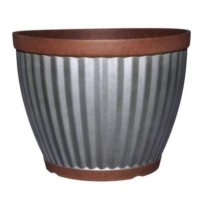 Spokane 16 in. Galvanized Resin Planter with Copper Rim