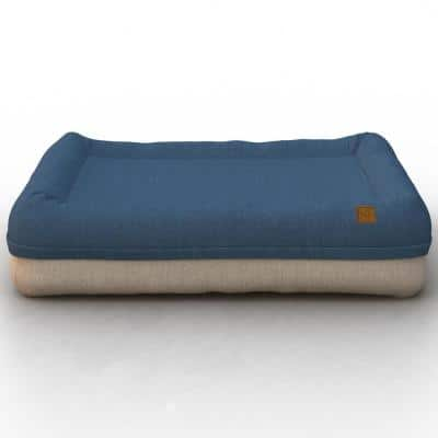 Plush Orthopedic Medium Blue Beige Breathable Dog Lounge Bed Cushion