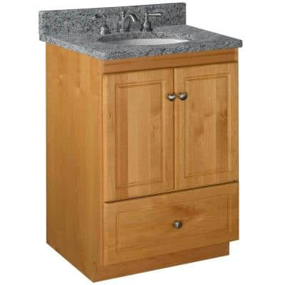 Ultraline 24 in. W x 21 in. D x 34.5 in. H Simplicity Vanity with No Side Drawers in Natural Alder