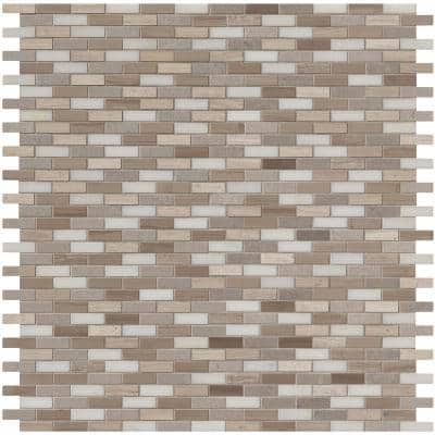 Arctic Storm 12 in. x 12 in. x 10 mm Honed Marble Mosaic Tile (1 sq. ft.)