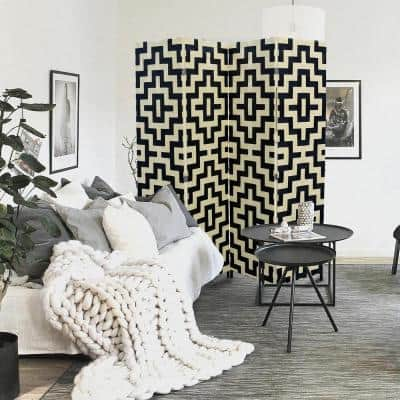 Handcrafted Black/Natural Paper Straw Weave 4-Panel Screen Room Divider on 2 in. Wooden Legs