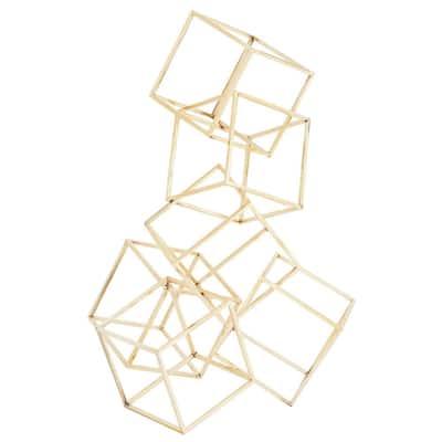 Modern Metallic Gold Cubes Sculpture, 15 in. x 20 in.