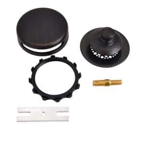 Universal NuFit Push Pull Bathtub Stopper with Grid Strainer, Combo Pin Kit, Oil-Rubbed Bronze