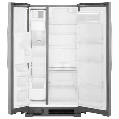 24.6 cu. ft. Side by Side Refrigerator in Monochromatic Stainless Steel