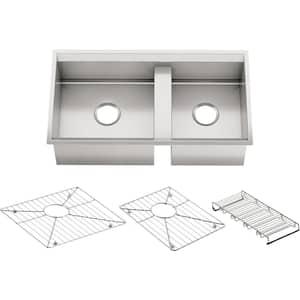 8 Degree Undermount Stainless Steel 33 in. Double Bowl Kitchen Sink Kit