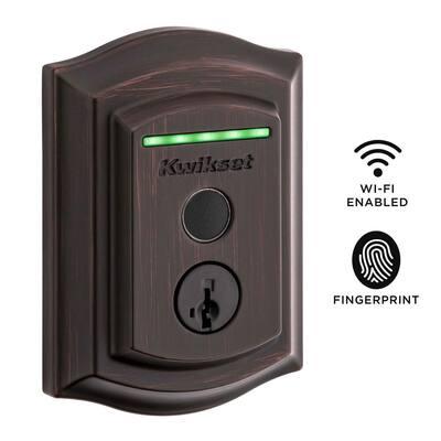 Halo Touch Venetian Bronze Traditional Fingerprint WiFi Elec Smart Lock Deadbolt Feat SmartKey Security w/ Tustin lever