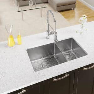 Undermount Stainless Steel 31-1/8 in. Double Bowl Kitchen Sink with Additional Accessories
