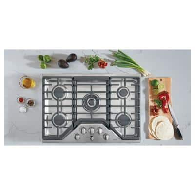 30 in. Gas Cooktop in Stainless Steel and Brushed Stainless with 5 Burners Including 20,000 BTU Triple Ring Burner