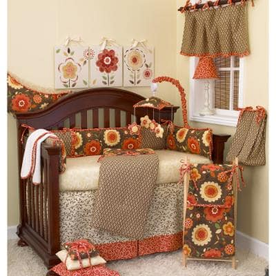 Peggy Sue 8-Piece Brown Multi Color Floral Crib Bedding Set