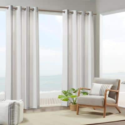 Bolinas 54 in. W x 108 in. L Light Filtering Printed Stripe 3M Scotchgard Outdoor Panel in Grey