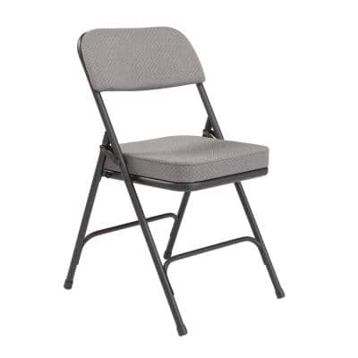 Charcoal Fabric Padded Seat Folding Chair (Set of 2)