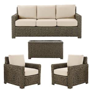 Laguna Point 4-Piece Brown Wicker Outdoor Patio Deep Seating Set with CushionGuard Putty Tan Cushions