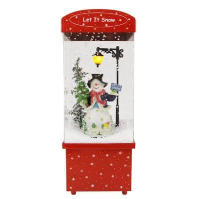 """16.25"""" Lighted Musical """"Let it Snow"""" Snowman Christmas Snow Globe Glittering Snow Dome"""