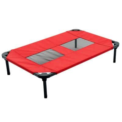 Medium/Large 36 in. Red Elevated Pet Bed Comfort Cot