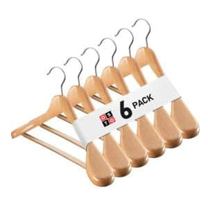 Natural Wooden Suit and Coat Hanger with Grooved, Non Slip Pant Bar 6-Pack