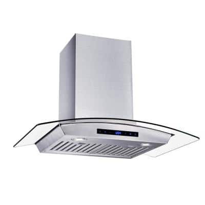 30 in. W Convertible Glass Wall Mount Range Hood with 2 Charcoal Filters in Stainless Steel