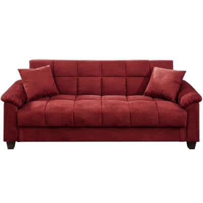 84 in. Red Microfiber Adjustable 3-Seater Sofa with Storage
