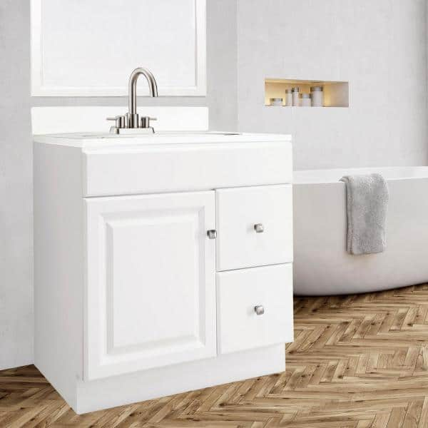 Design House Wyndham 30 In W X 18 In D Unassembled Bath Vanity Cabinet Only In White Semi Gloss 597203 The Home Depot
