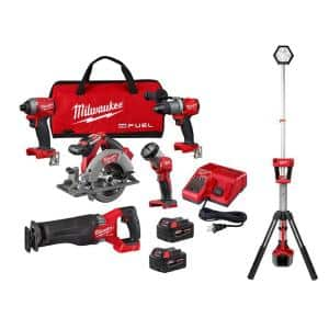 M18 FUEL 18-Volt Lithium-Ion Brushless Cordless Combo Kit (5-Tool) with Cordless Rocket Dual Power Tower Light