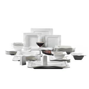 Series Mario, 28-Piece Modern Cream White Porcelain Dinnerware Set (Service for 6)
