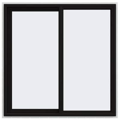 48 in. x 48 in. V-4500 Series Black FiniShield Vinyl Left-Handed Sliding Window with Fiberglass Mesh Screen