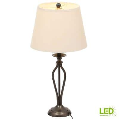 Rhodes 28 in. Bronze with Highlights Table Lamp and 9.5-Watt LED Bulb Included