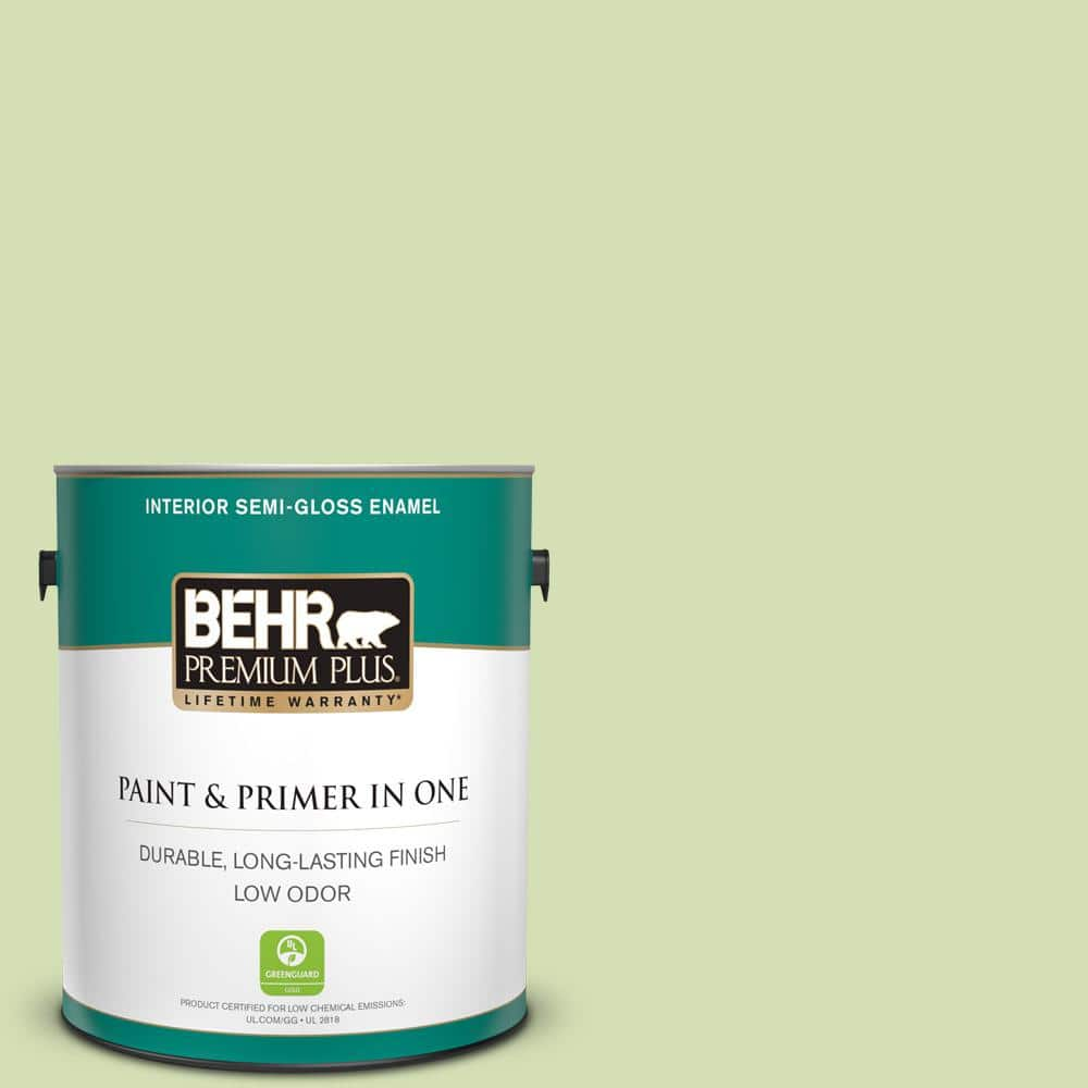 Behr Premium Plus 1 Gal 420c 3 Celery Bunch Semi Gloss Enamel Low Odor Interior Paint And Primer In One 305001 The Home Depot