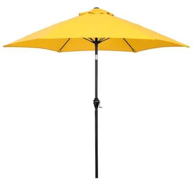 9 ft. Aluminum Market Patio Umbrella with Fiberglass Ribs, Crank Lift and Push-Button Tilt in Yellow Polyester