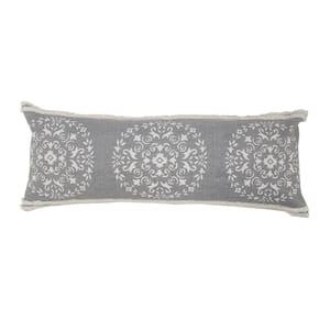 Mandala Gray / White Medallion Tufted Border Poly-Fill 14 in. x 36 in. Lumbar Throw Pillow