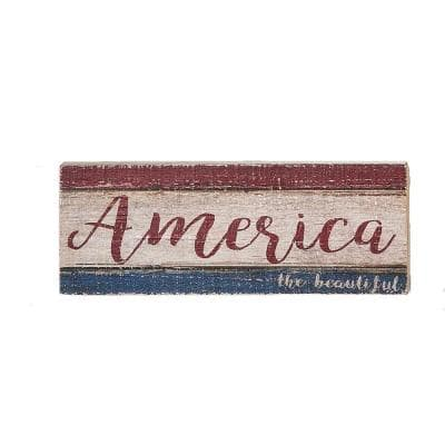 16 in. Distressed America The Beautiful Wood Sign (Set of 2)