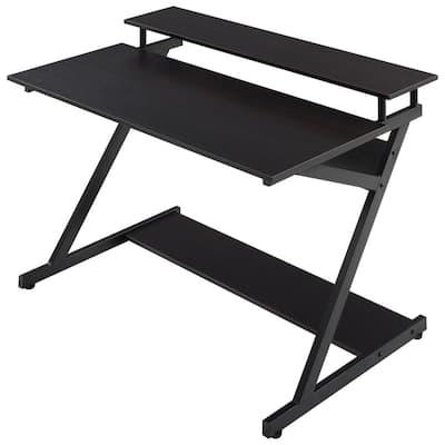 Rafael 39.4 in. Retangular Espresso Wood Writing Desk with Shelves