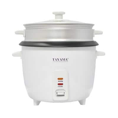 8-Cup White Rice Cooker with Glass Lid and Non-Stick Cooking Pot